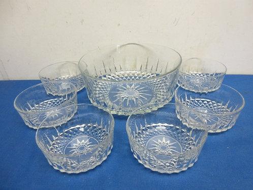 Cut glass salad bowl with 6 matching individual salad bowls