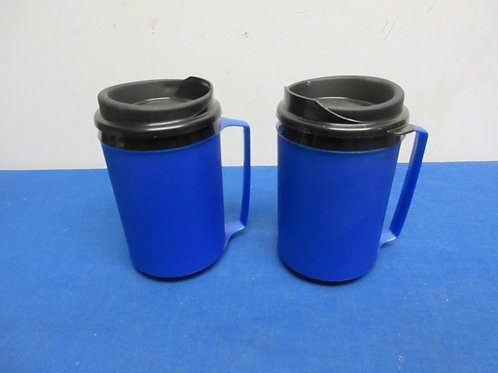 Pair of blue thermal travel coffee mugs