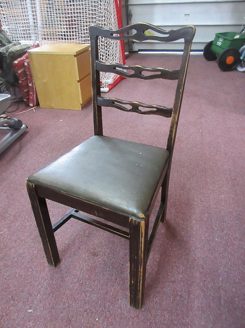 Distressed mahogany vintage chair w/gray vinyl seat