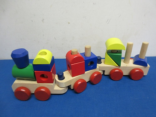 Melissa and doug stack train, all wood blocks