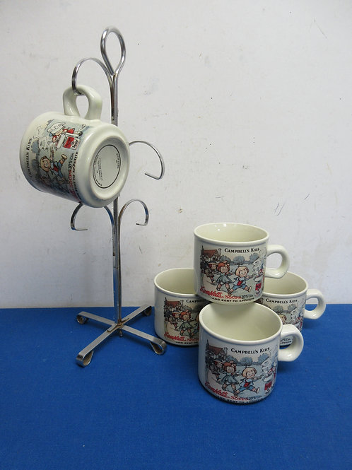 Set of 5 vintage campbells soup mugs with a chrome mug tree, from 1994