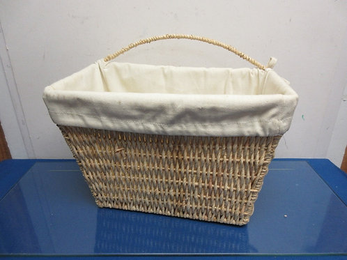 Natural rattan woven basket with hanging strap and cloth liner