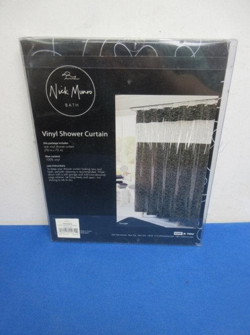 Nick Munro vinyl shower curtain - 70x72 - black and white - new