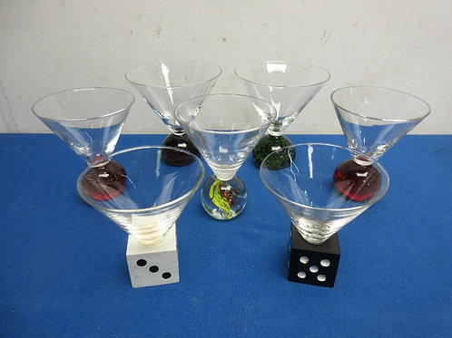 Group of 7 assorted sizes & bases, martini glasses