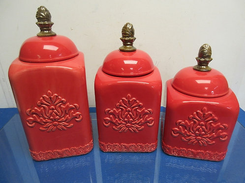 Set of 3 large red square canisters with fleur de lis design lid