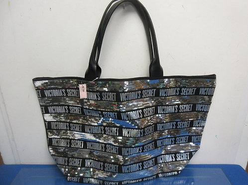 Victoria Secrets large silver sequence and black tote
