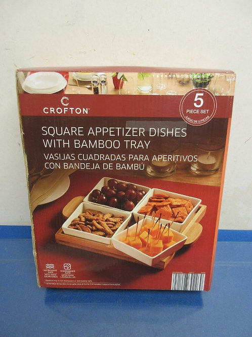 Crofton 5pc square appetizer dishes with bamboo tray, New in box