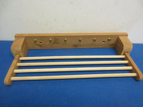 """Small wood drying rack with hooks and small bars 7x15"""""""