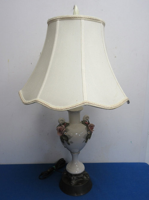"""Vintage white porcelain vase table lamp w/dimensional roses and white shade 28""""h"""