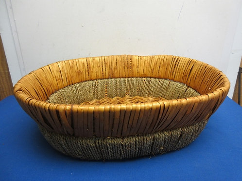 Large low rattan and wicker woven oval basket - 20x17