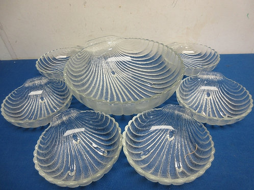 Glass sea shell salad set, large bowl and matching individual bowls