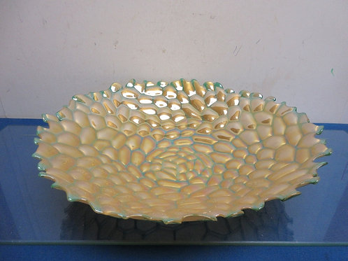 "Large yellow & green mosaic style glass bowl 15"" diameter"