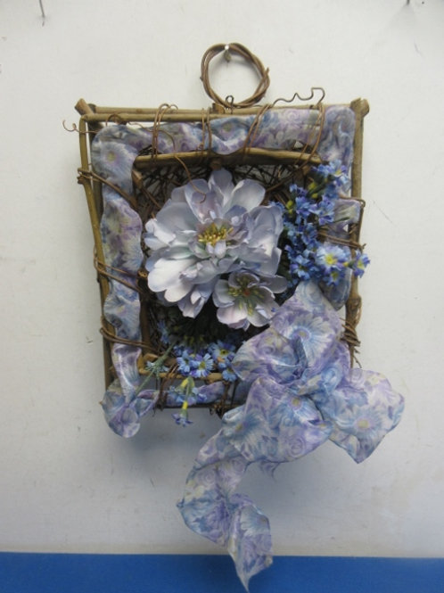 """Floral and twig square wall hanging, 10x10"""""""