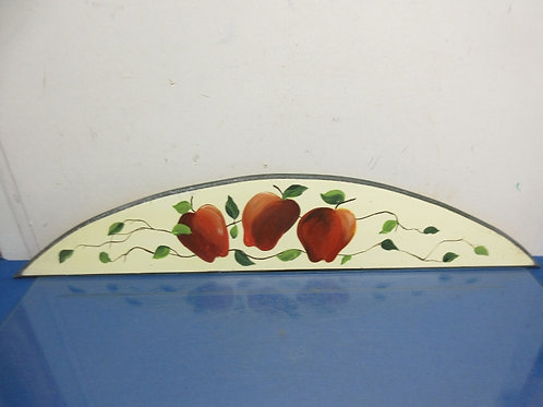 Wooden arch style door topper with apple and leaf hand painted design 6x31