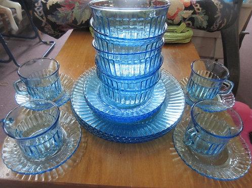 Blue glass dinnerware set - 20 pc service for 4