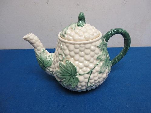 Burton and Burton white teapot with leaf design