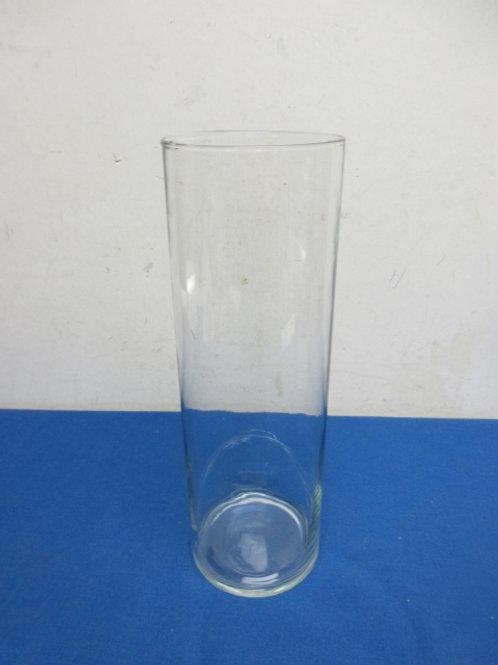 "Tall blown glass cylinder vase, 4""dia, x 12"" high"