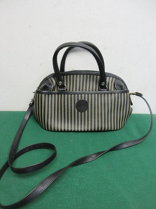 Small striped black and beige purse