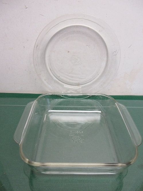 Set of 2 glass baking dishes - square and pie plate