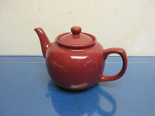 Burgundy round ceramic tea pot