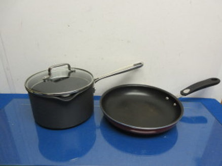 """Emeril non stick 3 qt pot with strain style lid & 10"""" fry pan w/silicone handle"""