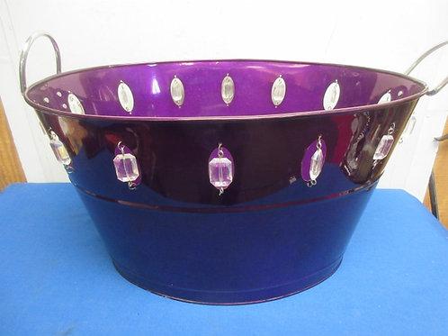 "Purple metal tub with gemstone accents, 14x20x11""deep"