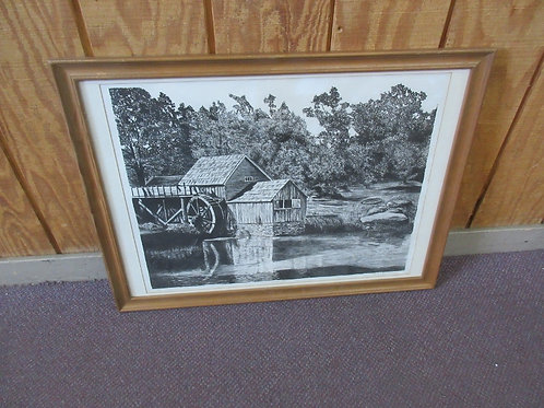 """Black & white print of a watermill in wood frame-30x22"""""""
