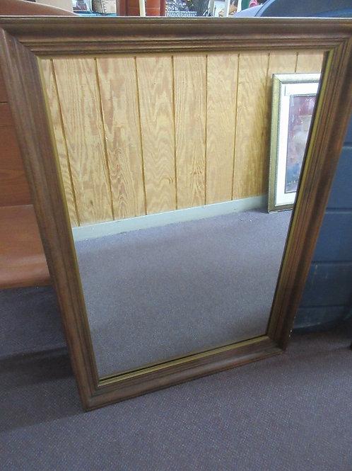"Large rectangular mirror w/dark wood & gold frame 28x40"""