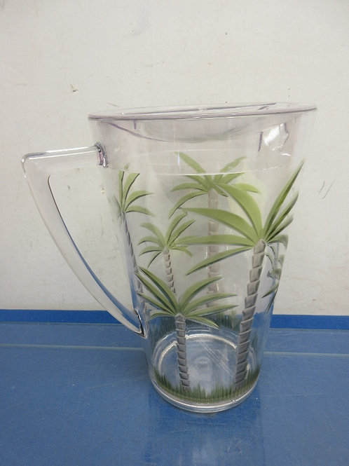 Plastic 2 qt. pitcher with lid-palm tree design