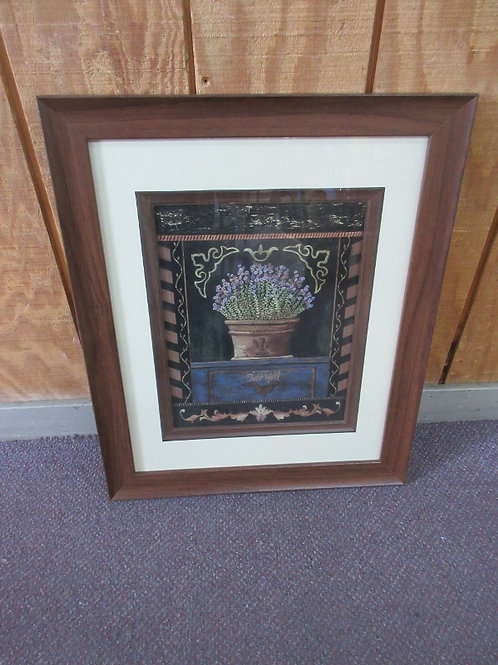 Sonoma print of purple flowers-white mat, wood frame- 19x23""