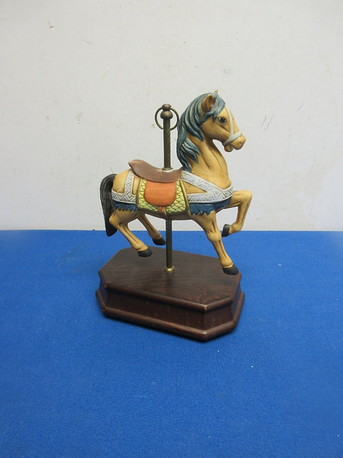 Carousel Horse on cherry wood stand