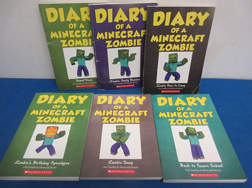 Set of 6 diary of a minecraft zombie books