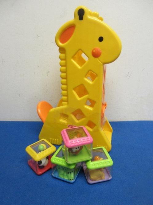 Fisher Price toddler stacking giraffe toy with blocks