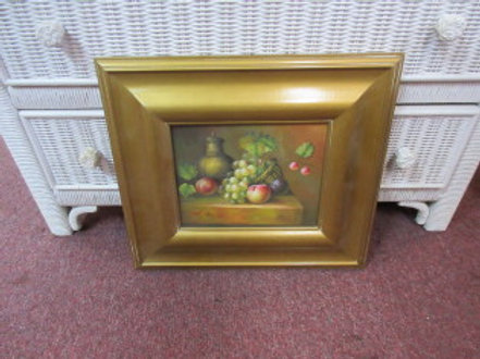 Fruit still life print with extra wide gold ornate frame - 15x17