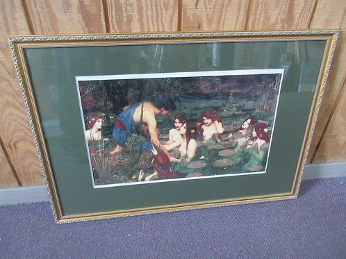 Print of Hylas and the Nymphs with wide green mat and gold frame 27x39""