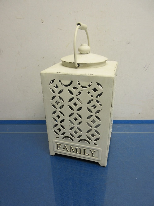 """Rustic ivory metal lantern style night light with """"family"""" on sides 10""""high"""