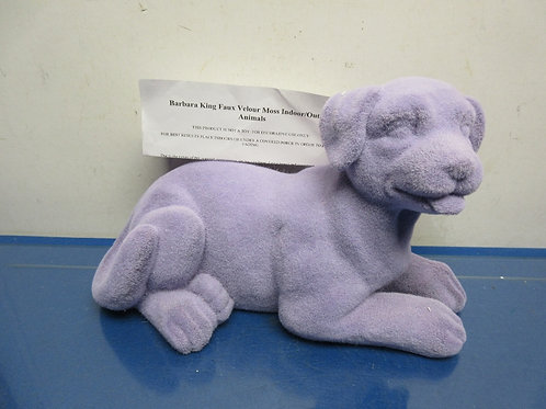 Barbara King faux velour indoor/outdoor animal statue - purple - dog - new