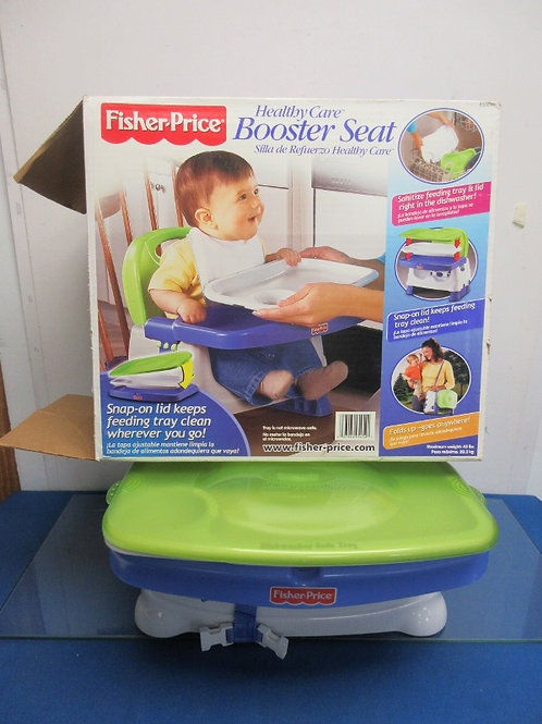 Fisher Price Booster seat with eating tray-white, green & blue