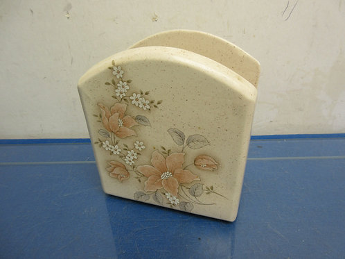 Pfaltzgraff napkin holder-brown floral design