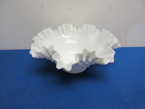 White milk glass wavy edge bowl