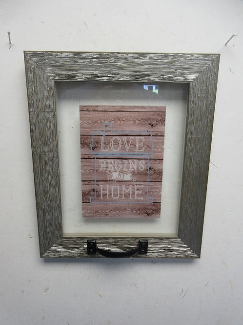 "Small distressed window wall hanging w/saying ""love begins at home"""