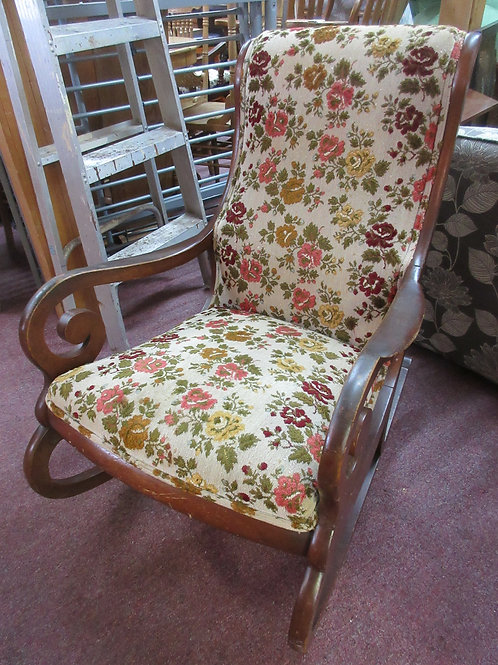 Rocking chair with floral tapestry style seat and back