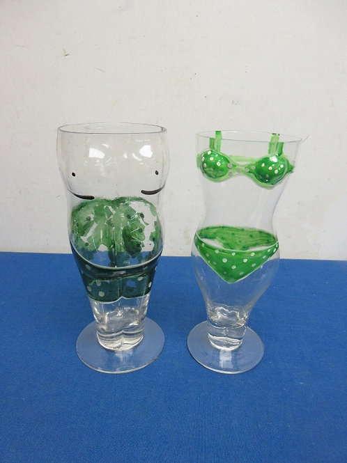 Pair of novelty beer glasses, shaped like a man and lady in bathing suits