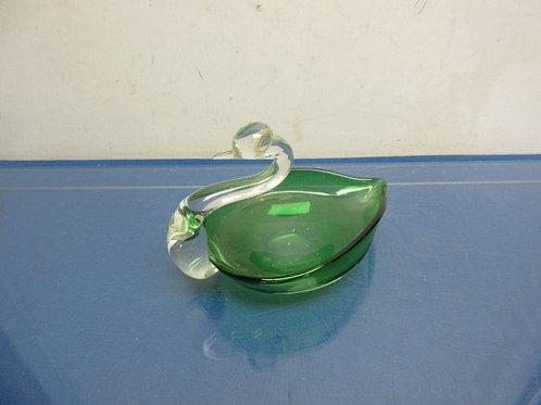 Ducan & Miller Green & clear glass swan
