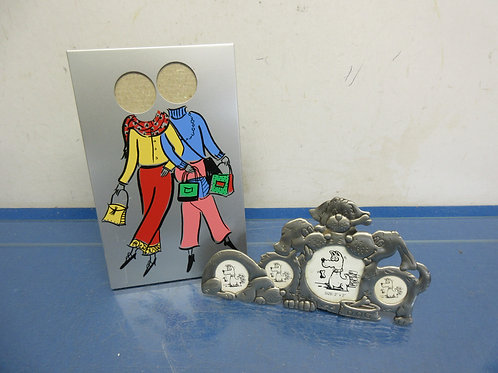 Pair of small pewter picture frames