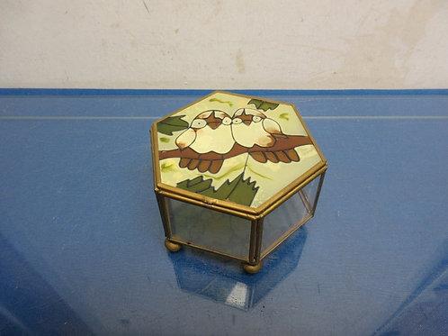 Hexagon glass keepsake box with hinged lid