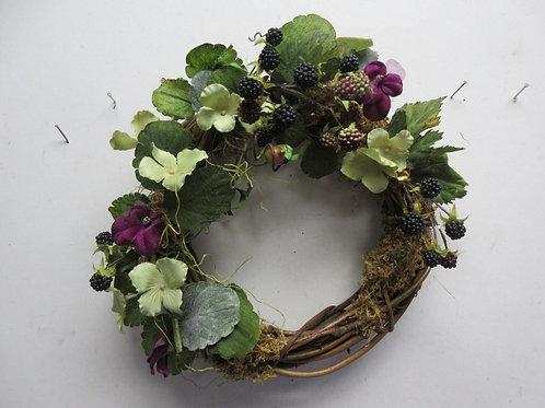 "Vine wreath with flowers and berries 12"" diameter"