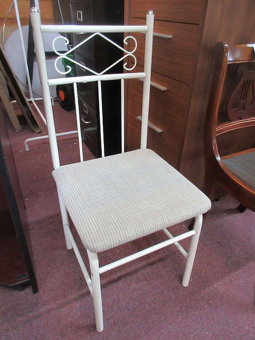 Ivory metal tubular framed accent chair with upholstered seat
