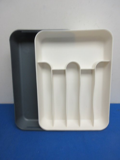 Large white silverware tray that expands