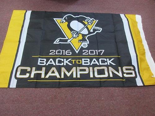 Pittsburgh Penguin back to back champs, full size flag, 5ft x 3ft